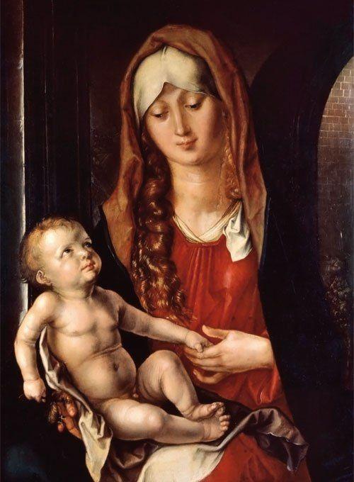 Albrecht Dürer Madonna col bambino-Fondazione Magnani Rocca.detta anche Madonna del Patrocinio (1495). Olio su tavola, cm 47,8 x 36,5.