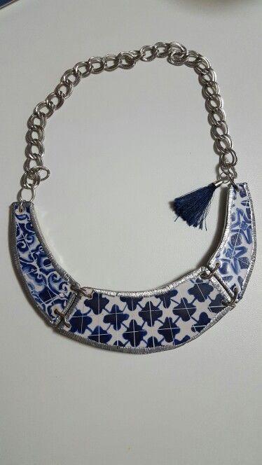 Colar em Azulejo  Blue Tiles Necklace  Hand made