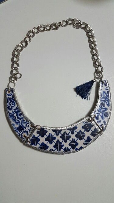 Colar em Azulejo  Blue Tiles Necklace  Hand made
