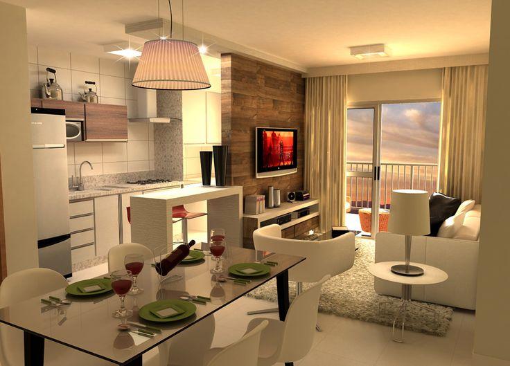 Perspectiva da sala e cozinha com 2 quartos