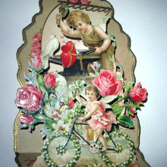 Vintage Antique German Pop Up Valentine Greeting Card Angel or Cupid ...