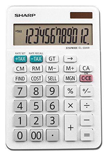 Sharp EL-334WB Business Calculator, White 4.0  12 digit large LCD screen with fold up kickstand  Cost/sell/margin keys make for quick and easy profit margin calculations  Durable plastic keys  Functions include: grand total key, double zero key, backspace key, automatic tax keys, percent key, 4 key independent memory, extra-large plus key, sign change, and automatic power down  Modern white design