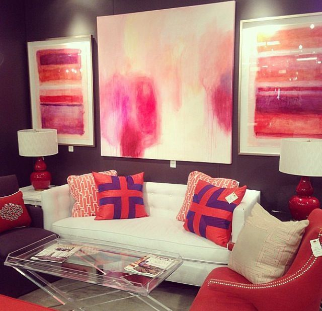 Colourful lounge room. Purple and coral.
