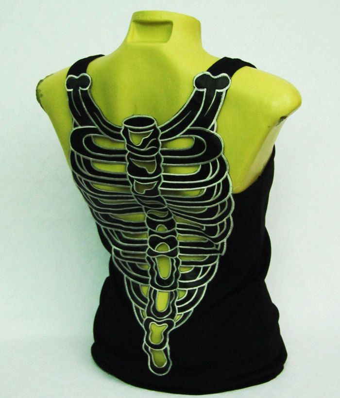 Tshirt Women shirt Sexy Skeleton Halloween tank top by beamhotshop, $26.50