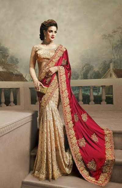 USD 215.65 Red and Brown Georgette Wedding Saree 40558