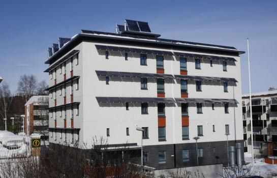Student dorm Puuseppä in Kuopio is the first zero-energy apartment block in Finland. As a national zero-energy pilot project it was built for high accessibility, for inhabitants to be selected by the Disability Services of the City of Kuopio. More info at the linked site.