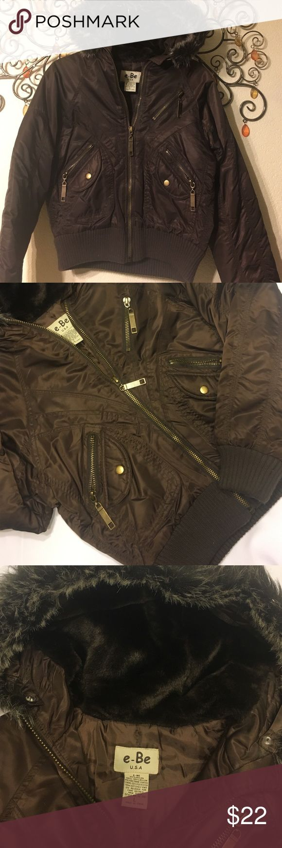 Brown Hooded Bomber Jacket  Beautiful Quilted Bomber Jacket/Hood has removable fur for a more casual look. Ready for your winter wardrobe e-Be USA Jackets & Coats