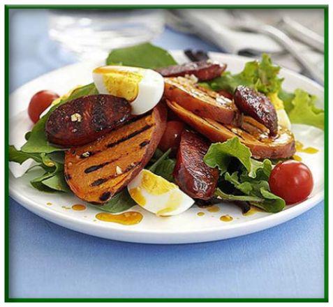 Warm chorizo, potato & egg salad