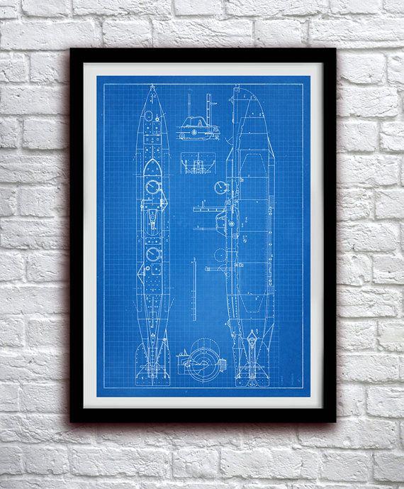 Sous-marin schéma - mer nautique Decor - décoration murale brevet tirage Poster - 0114