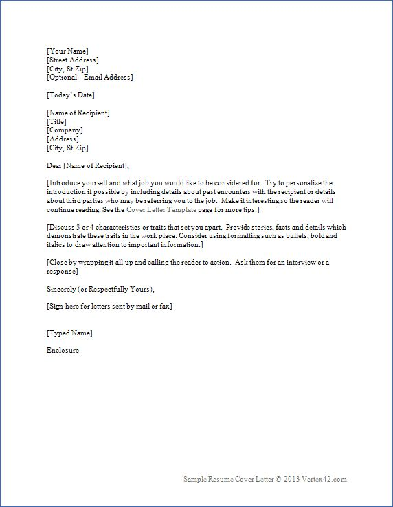download the resume cover letter template from vertex42com - Format Of Cover Letter Of Resume