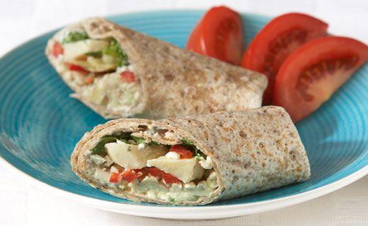 Breakfast: Epicure's Greek Breakfast Wraps (180 calories/serving) serve with Greek yogurt and berries