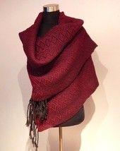 Handwoven Autumn- shawl, dark red.