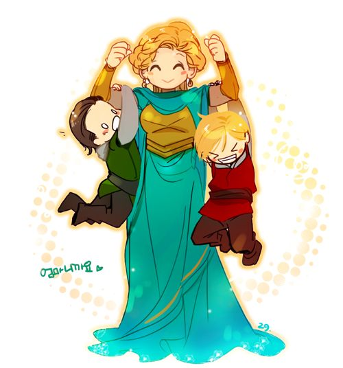 Frigga, showing off for her boys. Thor & Loki knew the real BAMF of Asgard was the Queen.