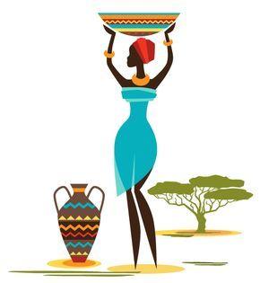Imagen de una mujer africana con varios elementos de África. En vector y PSD de Photoshop; JPG y PNG con fondo transparente. Descarga gratis.