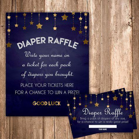Diaper Raffle Ticket Twinkle Little Star Baby Boy Shower