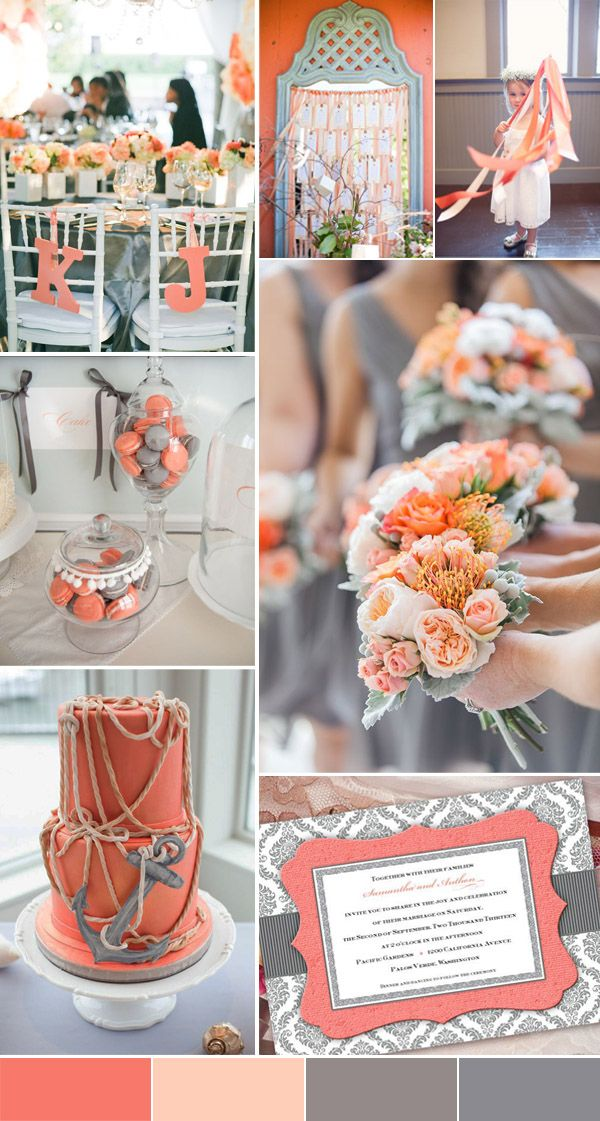 classic coral and grey wedding inspiration for 2016 spring and summer