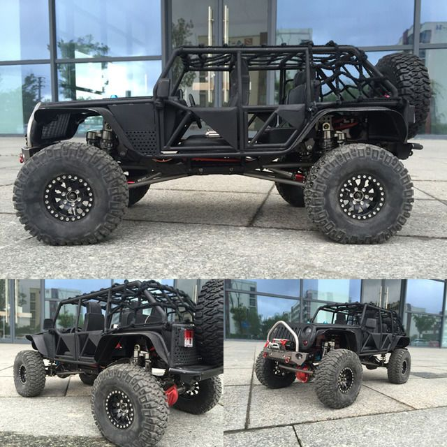 1/10 Full Metal Black Jeep 313mm Wheelbase Roll Cage Body