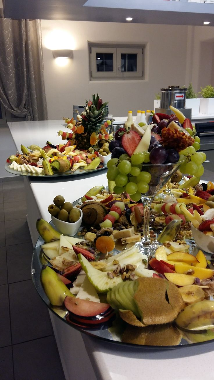 Fruit and cheese platters. Santorini Weddings, Wedding venue, Wedding ceremony and reception, Sunset view, wedding menu.