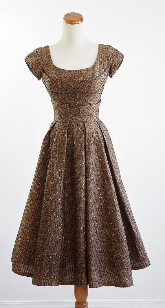 Reserved for Keiko -- Vintage 50s Dress -- 1950s Brown ...