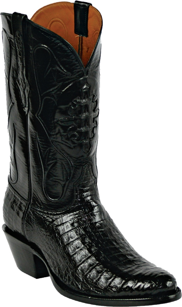 Mens Black Jack Boots Black Caiman Crocodile Belly Custom