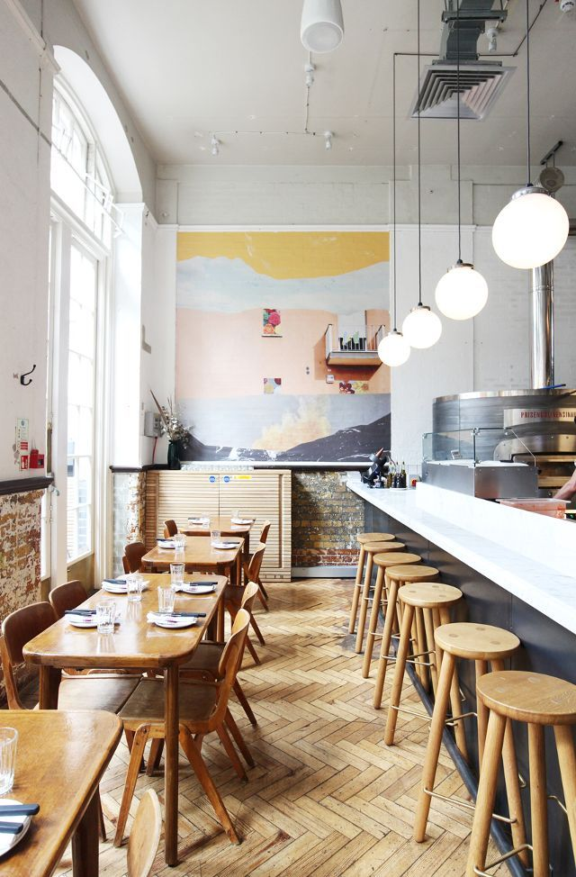 """Where: Radio Alice, London.  Must Order: """"Pizza lovers have to go to Radio Alice in Hoxton and try the Prosciutto di Parma,"""" says Egge.  Design Detail: This is a """"new-school pizzeria in an..."""