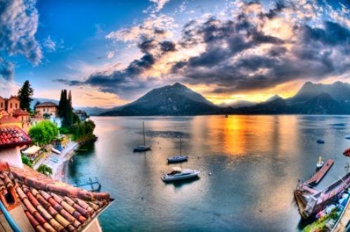 Λίμνη Κόμο - Λίμνη, Θέα, Δάσος, HDR, φύση, Beautyful, Ηλιοβασίλεμα, προβληματισμού, το Sunshine, βουνό