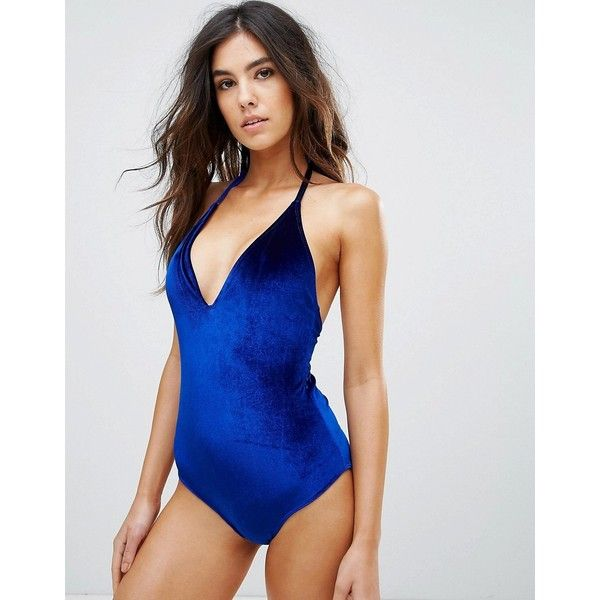 Playful Promises Velvet Plunge Neck Swimsuit ($48) ❤ liked on Polyvore featuring swimwear, one-piece swimsuits, navy, tall one piece swimsuit, halter bikini, swim suits, ruffle one piece swimsuit and halter one piece swimsuit