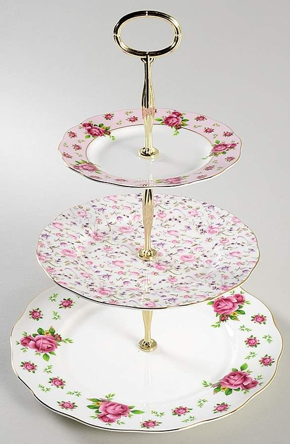 New Country Roses White 3 Tiered Serving Tray Dp Sp Bb By Royal Albert Tiered Serving Trays Country Roses Royal Albert