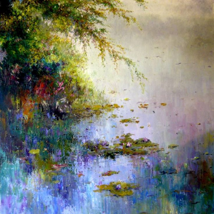 "Saatchi Art Artist Roman Frances; Painting, ""Water Lilies"" #art"