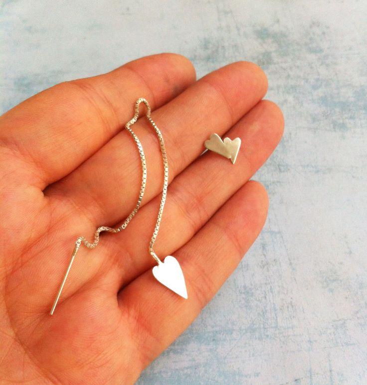 """Asymmetric sterling silver earrings """" From the Heart """" ref. 10215OK2 - Heart shape earrings - Simple earrings - minimalist jewelry - pinned by pin4etsy.com"""