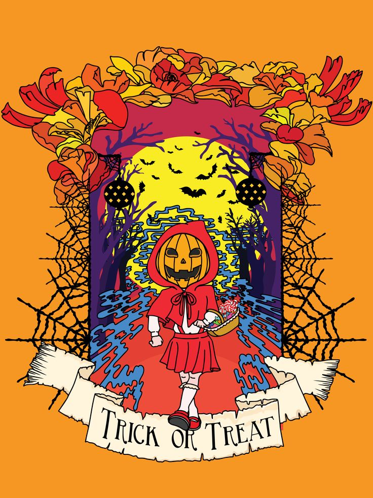 Jack o Red Riding Hood. A mixed fantasy between Jack o Lantern and Red Riding Hood. Halloween themed vector illustration. Made with Adobe Illustrator.