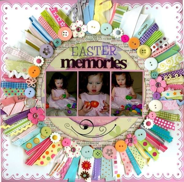A really cute idea for using all those small ribbon scraps!  #scrapbook #page #layout scrapnparadise.webs.com