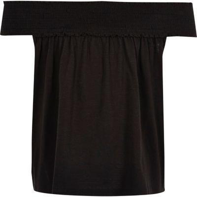 River Island Girls black shirred bardot swing top