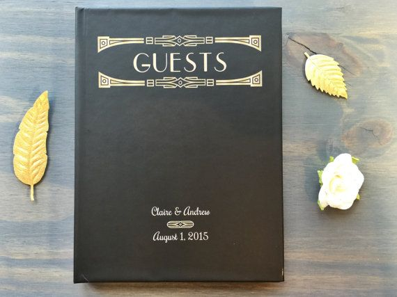 Wedding Guest Book Art Deco Gatsby Wedding by VioletPressandPaper