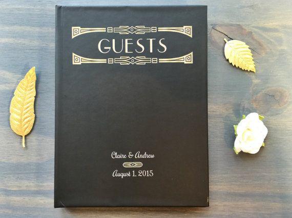Wedding Guest Book Art Deco Gatsby Wedding by VioletPressandPaper