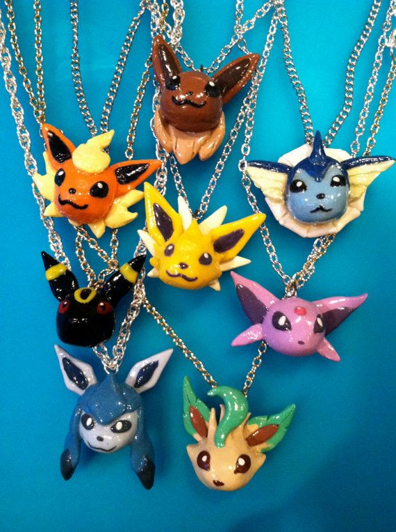 Pokemon Necklace Eeveeloutions Polymer Clay Charm by PokemonCharms on Etsy, $15.00