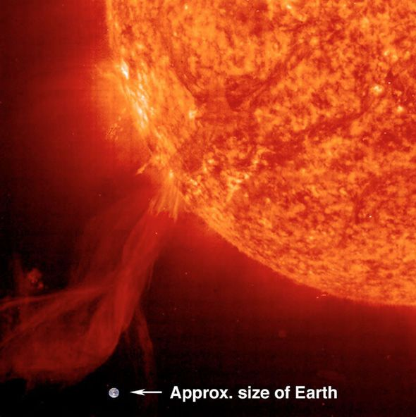 This genuine Nasa image shows the size of a solar flare compared to Earth