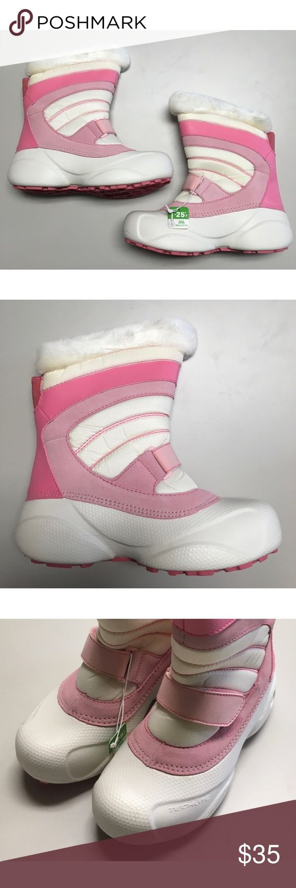 Columbia Snow Day Pink & White Boots In perfect condition, new with tags. I bought three pairs for my kids so I have a size 1, size 3, and a size 5 but we moved and no longer can use them. They may look slightly dirty in the photo, but I can assure you they are not, it is just due to the lighting not being the greatest and some shadow casting. They are soft, easy to put on, and it will keep your little ones feet warm for the winter! Columbia Shoes