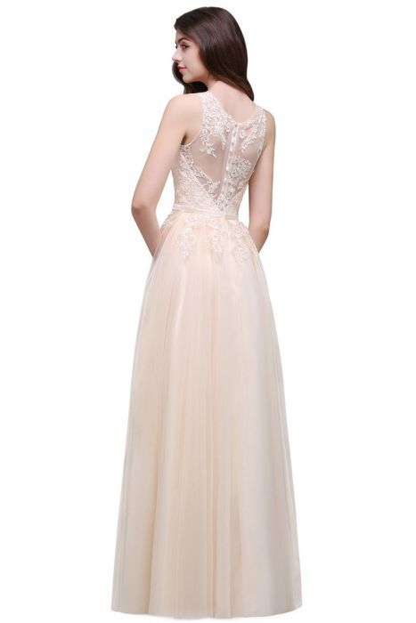 aacdc60111bec Bridesmaid Dresses Robe Demoiselle D'honneur Sexy Illusion Lace Convertible  Long Light Champagne