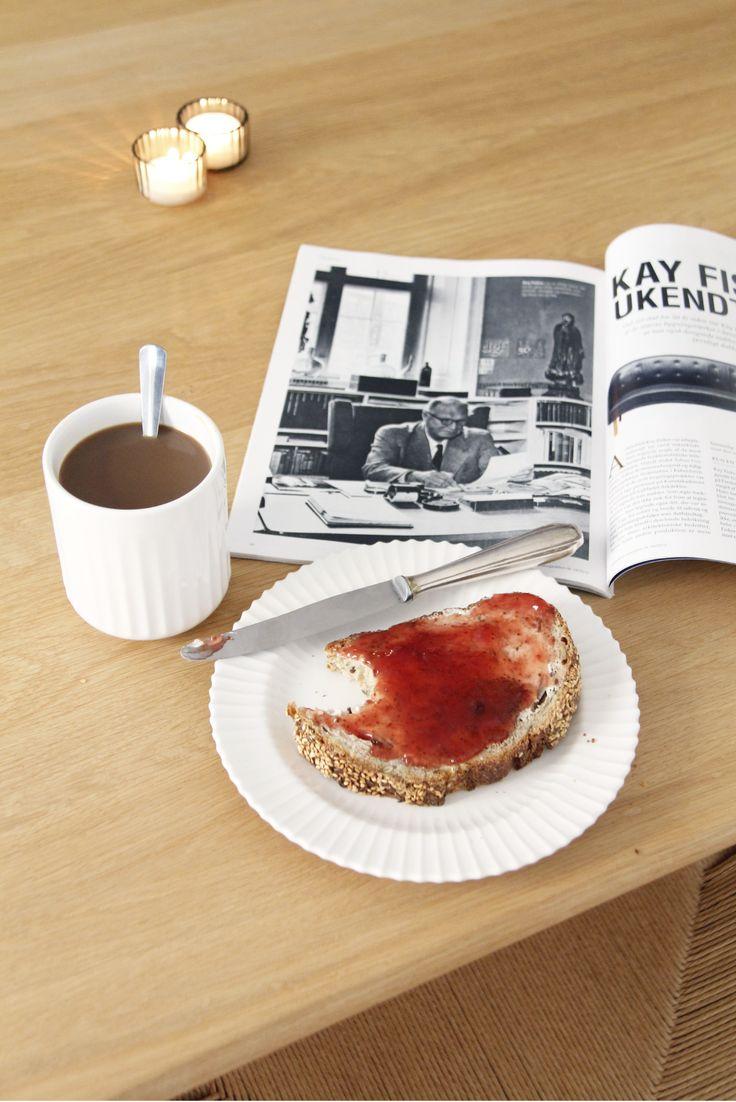 Breakfast - danish bread, butter and marmelade.