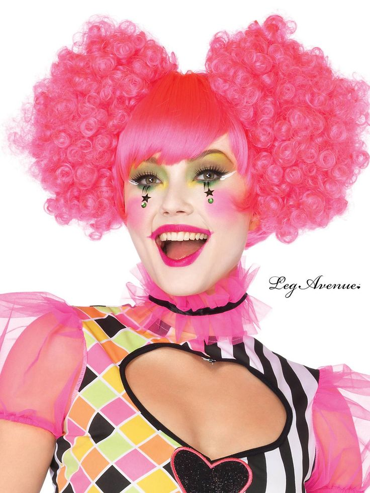 Neon Pink Harlequin Clown Wig with Curly Puff Clip-On Pieces | Wholesale Clown Accessories