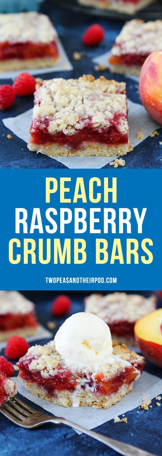 Peach Raspberry Crumb Bars have a buttery crust, sweet fruit filling, and delicious crumb topping. These easy pie bars are a favorite summer dessert, especially when topped with vanilla ice cream!
