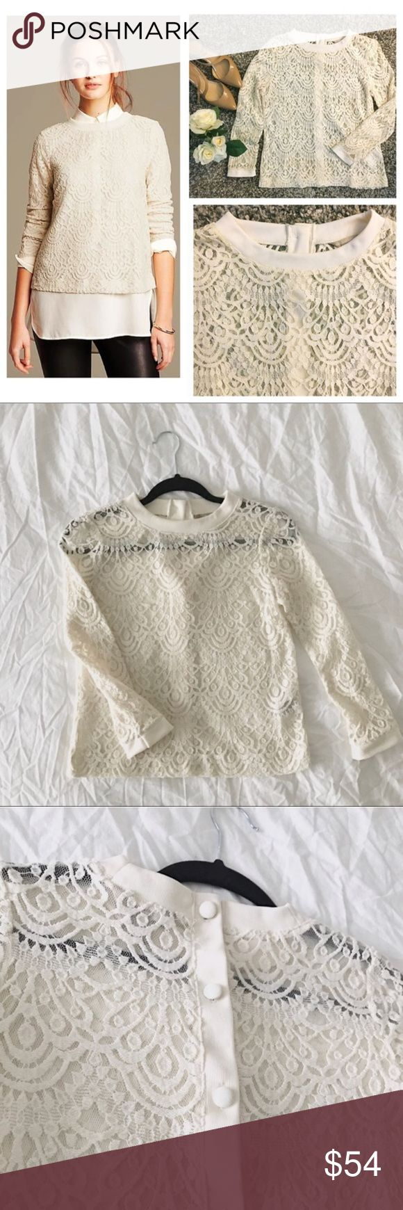 NWOT🌟HP🌟Banana Republic Sheer Lace Pullover Top! HOST PICK! Beautiful Banana Republic Pullover Blouse! Perfect for work settings or nice occasions! Slightly sheer, which is perfect to wear over a nice cami or button down shirt! Excellent used condition, no signs of wear. This long sleeve lace blouse features a beautiful button back detail! Firm fit, size XS Petite. Ivory/cream color. Add this beautiful top to your wardrobe today! Bundle your purchase for 20% off! Banana Republic Tops…