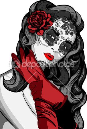 Sugar skull lady with paint for Day of the Dead (Dia de los Muertos)