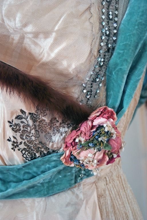 Detail of the embroidery on a House of Worth gown c.1912.