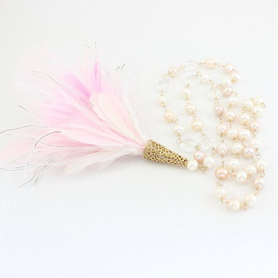 Long Pearl Feather Necklace Large Natural Pink by PearlKissed