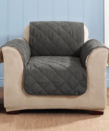 Sure Fit Graphite U0026 Cream Reversible Suede U0026 Sherpa Chair Slipcover