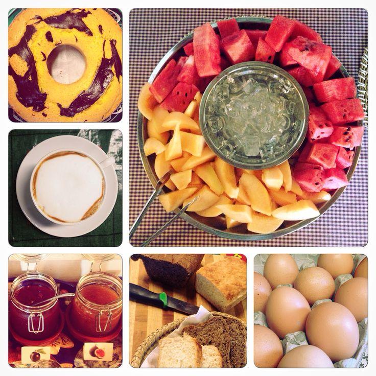 Home made breakfast. #bred #fruitjam #cake #cappuccino #eggs #fruit