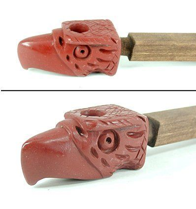 Authentic Native American Catlinite eagle offering pipe with stem by Lakota Alan Monroe