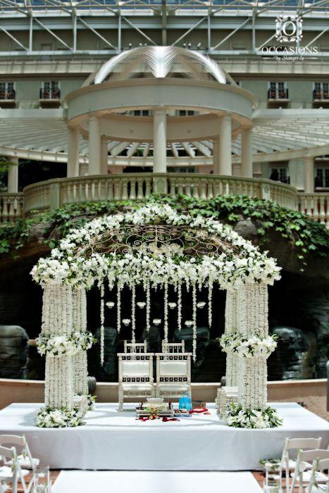 Indian Wedding Mandaps | Event Decorators : Occasions By Shangri-la, white floral mandap #mandap #hinduweddngs